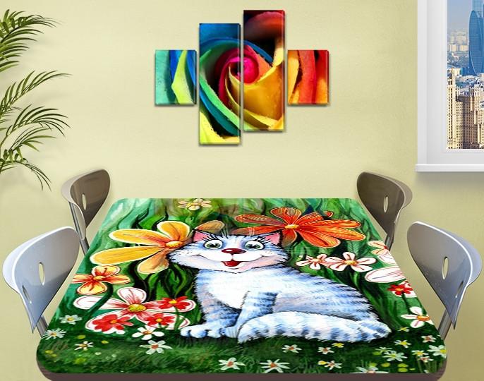 Детская наклейка на стол Котенок виниловая самоклеющаяся пленка для декора мебели, зеленый 60 х 100 см