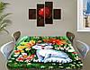 Детская наклейка на стол Котенок виниловая самоклеющаяся пленка для декора мебели, зеленый 60 х 100 см, фото 2