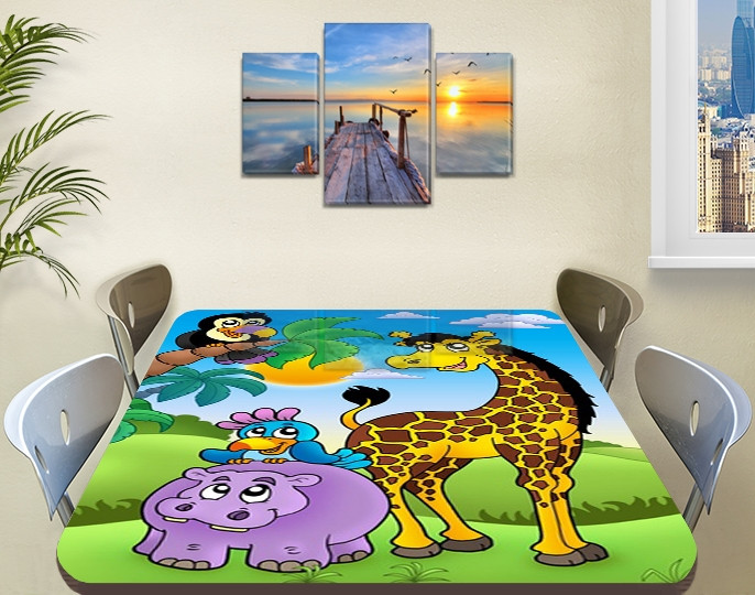 Детская наклейка на стол Жираф и Попугай виниловая самоклеющаяся пленка для декора мебели, желтый 60 х 100 см