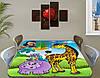Детская наклейка на стол Жираф и Попугай виниловая самоклеющаяся пленка для декора мебели, желтый 60 х 100 см, фото 2