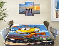 Детская наклейка на стол Супергерой виниловая самоклеющаяся пленка для декора мебели, голубой 60 х 100 см