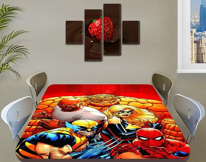 Детская виниловая наклейка на стол Супергерои Марвел, самоклеющаяся пленка с ламинацией, красный 60 х 100 см