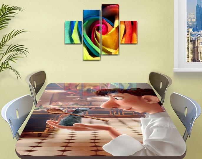 Виниловая наклейка на стол Рататуй мышонок мультик двойная пленка, 60 х 100 см, мультфильмы, бежевый
