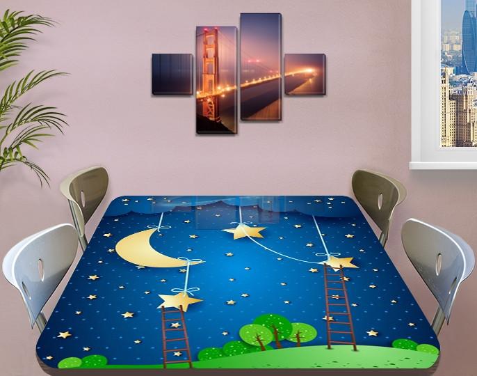 Детская виниловая наклейка на стол Кукольный домик Звезды Луна, самоклеющаяся двойная пленка синий 60 х 100 см