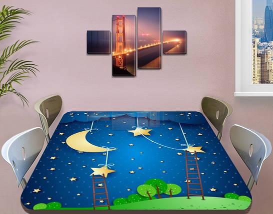 Детская виниловая наклейка на стол Кукольный домик Звезды Луна, самоклеющаяся двойная пленка синий 60 х 100 см, фото 2
