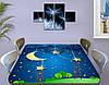 Детская виниловая наклейка на стол Кукольный домик Звезды Луна, самоклеющаяся двойная пленка синий 60 х 100 см, фото 3