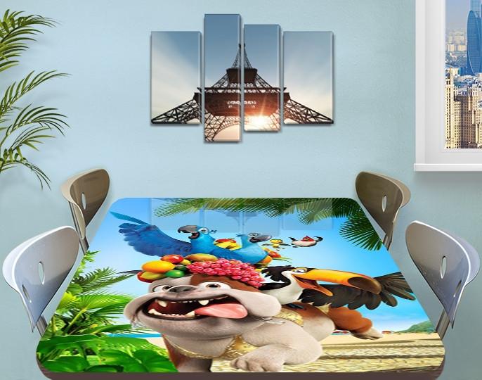 Детская виниловая наклейка на стол Мультфильм Рио (пес, попугай), самоклеющаяся пленка, голубой 60 х 100 см