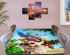 Детская виниловая наклейка на стол Мультфильм Рио (пес, попугай), самоклеющаяся пленка, голубой 60 х 100 см, фото 3