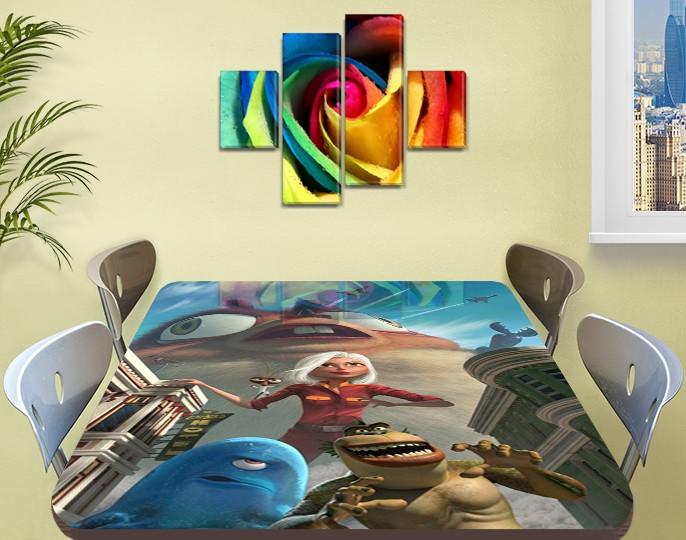 Детская виниловая наклейка на стол Большой отрыв Боба, самоклеющаяся пленка декоративная, голубой 60 х 100 см