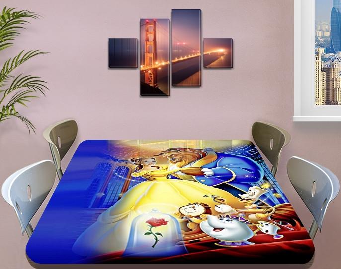 Детская виниловая наклейка на стол Красавица и Чудовище, самоклеющаяся двойная пленка, голубой 60 х 100 см