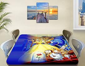 Детская виниловая наклейка на стол Красавица и Чудовище, самоклеющаяся двойная пленка, голубой 60 х 100 см, фото 3