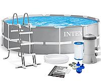 Каркасный бассейн с комплектацией, насос-фильтр+Лестница серии Intex Prism Frame Pool 26716