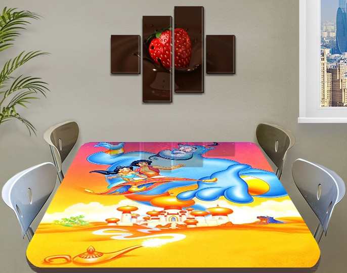 Детская виниловая наклейка на стол Аладдин Джин, самоклеющаяся пленка декоративная, желтый 60 х 100 см