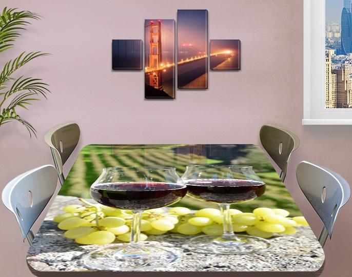 Виниловая наклейка на стол Виноградники Бокалы с вином самоклеющаяся пленка декоративная, зеленый 60 х 100 см