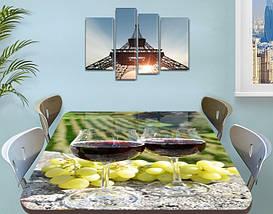 Виниловая наклейка на стол Виноградники Бокалы с вином самоклеющаяся пленка декоративная, зеленый 60 х 100 см, фото 3
