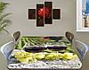 Виниловая наклейка на стол Виноградники Бокалы с вином самоклеющаяся пленка декоративная, зеленый 60 х 100 см, фото 2