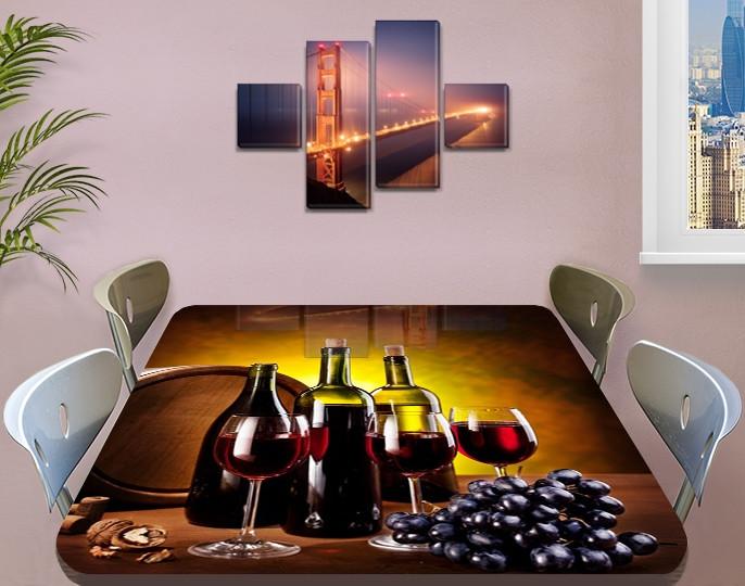 Виниловая наклейка на стол Рубиновое вино Бочка виноград пленка для декорирования, коричневый 60 х 100 см