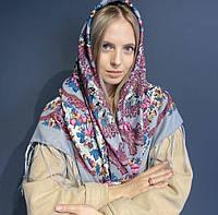 Яркий павлопосадский платок для девушки (120х120 см, 80%-шерсть), фото 1