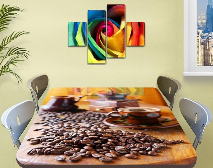 Виниловая наклейка на стол Утренний кофе Зерна, ламинированная пленка для кухни, коричневый 60 х 100 см