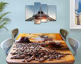 Виниловая наклейка на стол Утренний кофе Зерна, ламинированная пленка для кухни, коричневый 60 х 100 см, фото 3