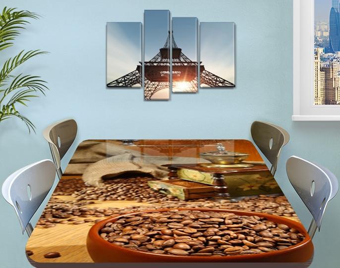 Виниловая наклейка на стол Зерна кофе Кофемолка ламинированная пленка двойная декор, коричневый 60 х 100 см