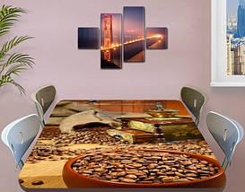 Виниловая наклейка на стол Зерна кофе Кофемолка ламинированная пленка двойная декор, коричневый 60 х 100 см, фото 3