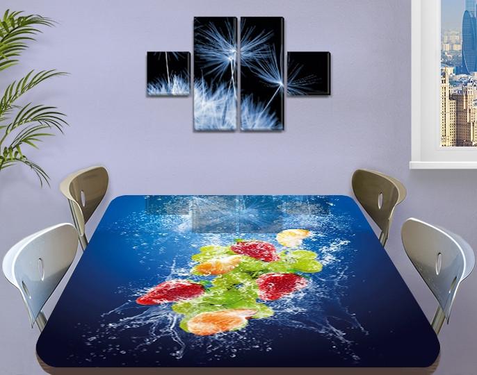 Виниловая наклейка на стол Фрукты в синей воде ламинированная пленка на кухонные столы, синий 60 х 100 см