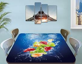 Виниловая наклейка на стол Фрукты в синей воде ламинированная пленка на кухонные столы, синий 60 х 100 см, фото 3