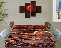 Виниловая наклейка на стол Шоколад и Специи кофе ламинированная пленка наклейки кухня, коричневый 60 х 100 см