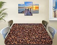 Виниловая наклейка на стол Кофейные зерна кофе ламинированная пленка наклейки на столы, коричневый 60 х 100 см