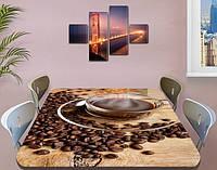Виниловая наклейка на стол Черный Кофе кофейные зерна, пленка двойная ламинированная, коричневый 60 х 100 см