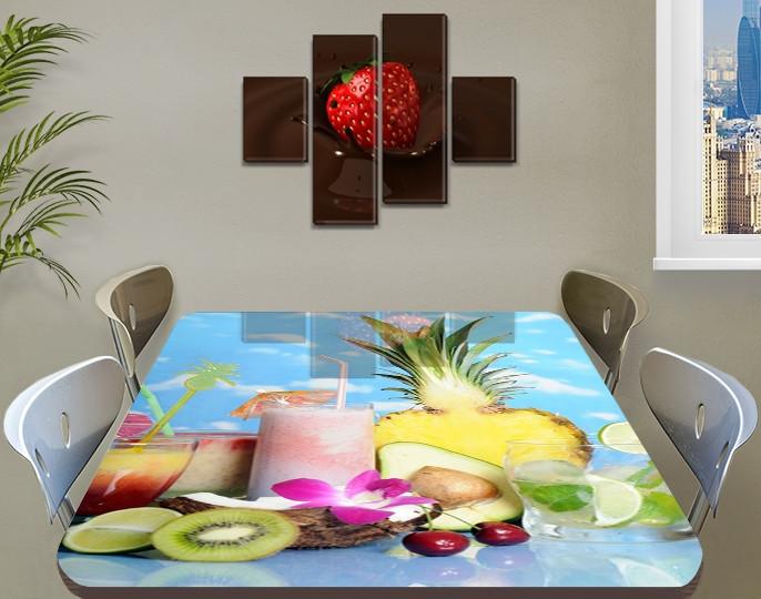 Виниловая наклейка на стол Смузи Ананас ламинированная пленка наклейки на кухонные столы, голубой 60 х 100 см