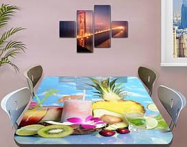 Виниловая наклейка на стол Смузи Ананас ламинированная пленка наклейки на кухонные столы, голубой 60 х 100 см, фото 3