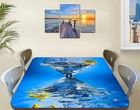 Виниловая наклейка на стол Мартини с Оливкой Вода ламинированная пленка наклейки на кухню, голубой 60 х 100 см
