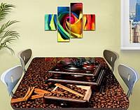 Виниловая наклейка на стол Зерна Кофе кофемолка ламинированная пленка наклейки на кухню коричневый 60 х 100 см