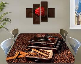 Виниловая наклейка на стол Зерна Кофе кофемолка ламинированная пленка наклейки на кухню коричневый 60 х 100 см, фото 3