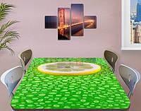 Виниловая наклейка на стол Лимон и капли Росы ламинированная пленка наклейки на кухню, зеленый 60 х 100 см