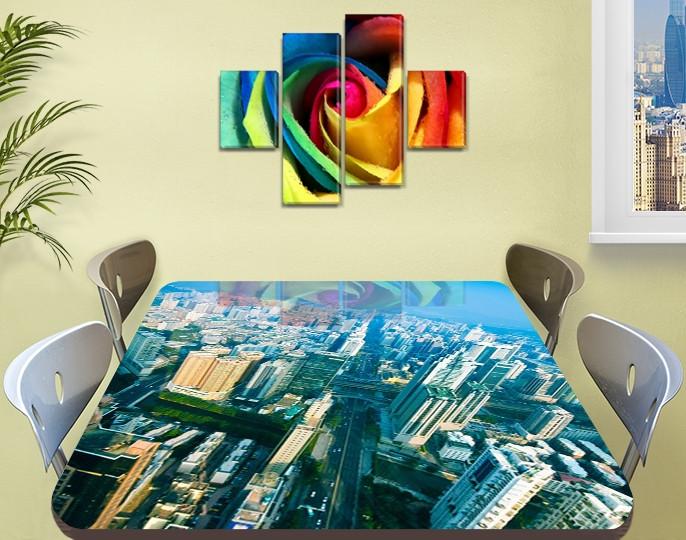 Виниловая наклейка на стол Город Небоскребы декоративная пленка самоклеющаяся, голубой 60 х 100 см