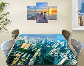 Виниловая наклейка на стол Город Небоскребы декоративная пленка самоклеющаяся, голубой 60 х 100 см, фото 2