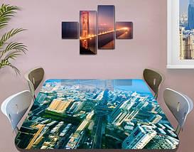 Виниловая наклейка на стол Город Небоскребы декоративная пленка самоклеющаяся, голубой 60 х 100 см, фото 3