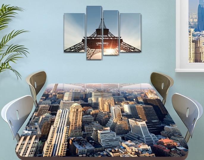 Виниловая наклейка на стол Небоскребы город декоративная пленка самоклеющаяся, серый 60 х 100 см