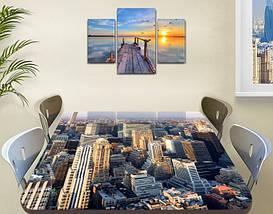 Виниловая наклейка на стол Небоскребы город декоративная пленка самоклеющаяся, серый 60 х 100 см, фото 3