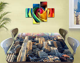 Виниловая наклейка на стол Небоскребы город декоративная пленка самоклеющаяся, серый 60 х 100 см, фото 2