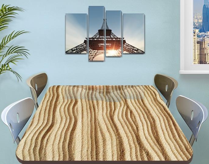 Виниловая наклейка на стол Песок, песочный рельеф полосы самоклеющаяся двойная пленка, бежевый 60 х 100 см