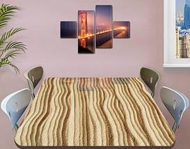 Виниловая наклейка на стол Песок, песочный рельеф полосы самоклеющаяся двойная пленка, бежевый 60 х 100 см, фото 3