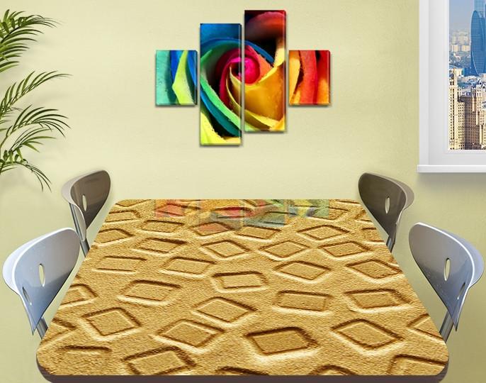 Виниловая наклейка на стол Песок песочная абстракция квадрат самоклеющаяся двойная пленка, бежевый 60 х 100 см