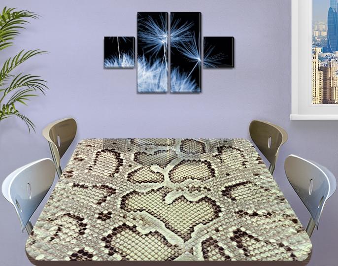 Виниловая наклейка на стол Кожа Питона, змеиная шкура змея самоклеющаяся двойная пленка, серый 60 х 100 см
