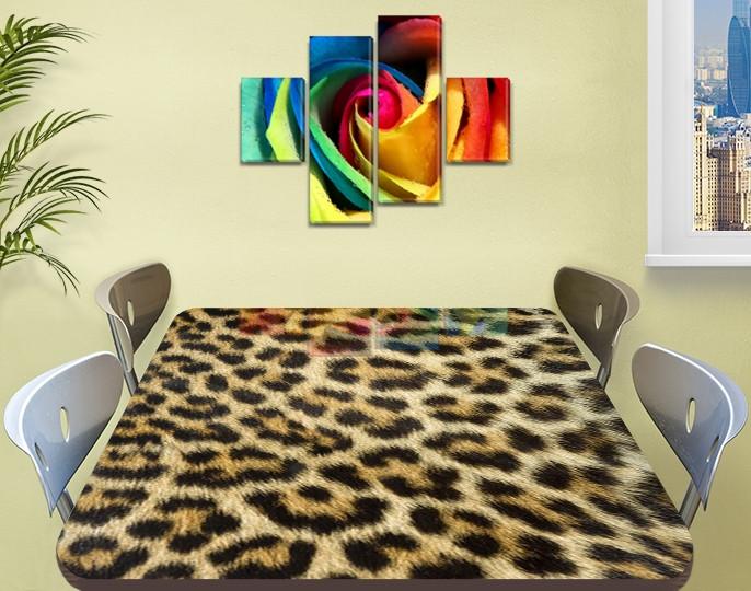 Виниловая наклейка на стол Леопард Гепард шкура самоклеющаяся двойная пленка, бежевый 60 х 100 см