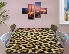 Виниловая наклейка на стол Леопард Гепард шкура самоклеющаяся двойная пленка, бежевый 60 х 100 см, фото 3