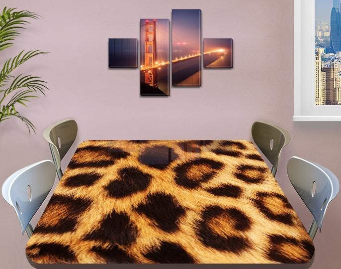 Виниловая наклейка на стол Леопардовый шкура гепарда самоклеющаяся двойная пленка, коричневый 60 х 100 см